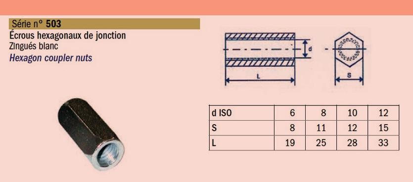Ecrou-hexagonal-de-jonction- zingué- SN° 503