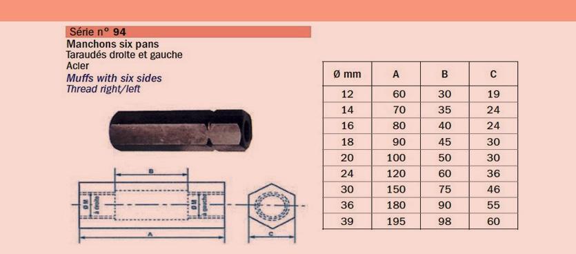 Manchon-6-pans-taraudé-droite -et-gauche